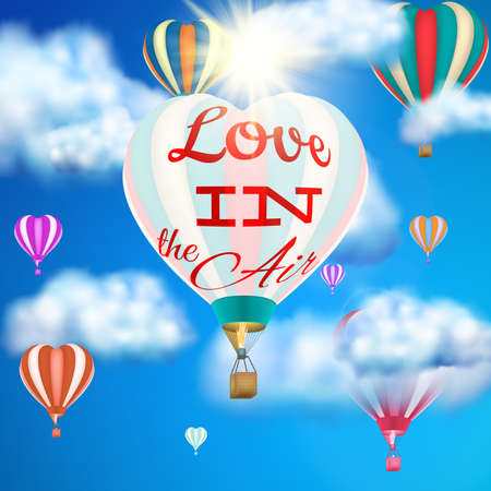 air to air: Heart shaped air balloon. EPS 10 vector file included