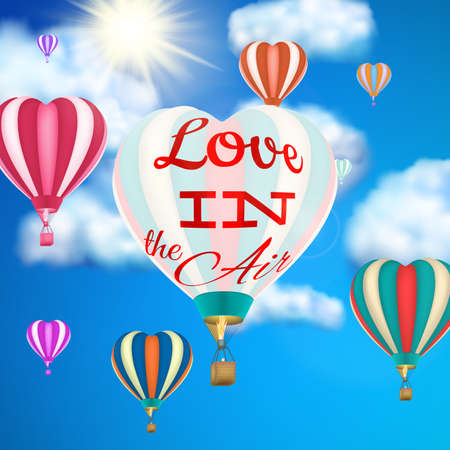 affair: Hot air balloon flying hearts romantic concept. EPS 10 vector file included