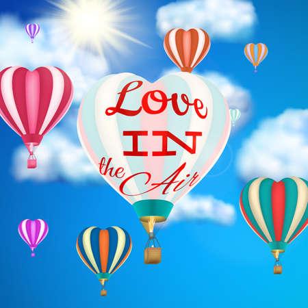 balon: Hot air balloon flying hearts romantic concept. EPS 10 vector file included