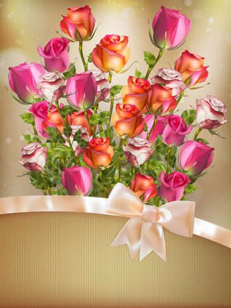 Holiday background with bouquet of rose flowers with bow and ribbon. EPS 10 vector file included Illustration
