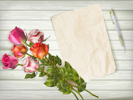 greeting card background: Roses bouquet and blank greeting card over wooden table. EPS 10 vector file included Illustration