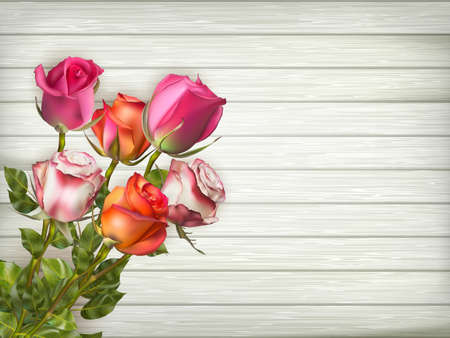 paper old: Romantic floral frame background. Valentines day background. Roses on wooden background. EPS 10 vector file included Illustration