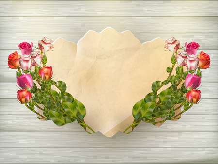 rose bouquet: Beautiful bouquet of multicolored roses and a card of vintage cardboard on a wooden board, close-up, ready background. EPS 10 vector file included Illustration