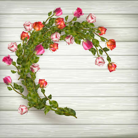chik: Roses wreath on wooden background. EPS 10 vector file included