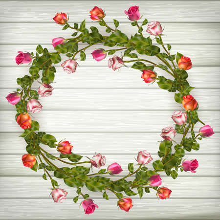 wed beauty: Roses wreath on wooden background. EPS 10 vector file included