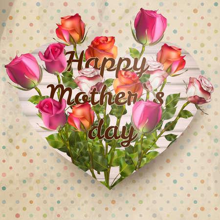 agradecimiento: Las madres tarjeta del día con rosas en papel. Vectores
