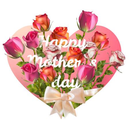 agradecimiento: Las madres tarjeta del d�a con rosas en papel. Vectores