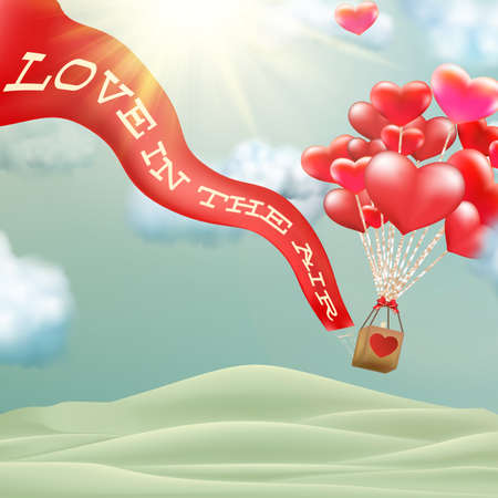 affairs: Hot air balloon flying hearts romantic concept. Illustration