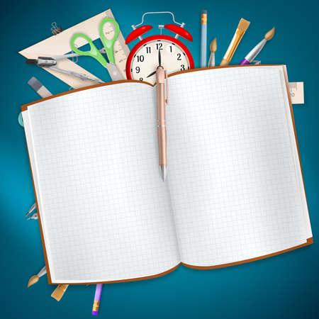 utiles escolares: Fuentes de escuela en fondo azul. Vectores