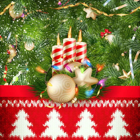 silvester: New Year christmas decoration. Christmas template against knitted background. Illustration for new years day, christmas, winter holiday, new years eve, silvester, etc.