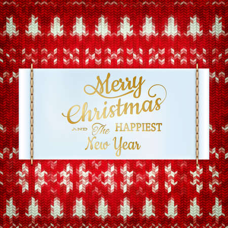 silvester: New Year christmas decoration. Christmas template against knitted background. Illustration for new years day, christmas, winter holiday, new years eve, silvester, etc.  Illustration