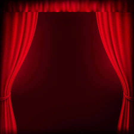 red theater curtain: Red curtain background template. EPS 10 vector file included Illustration