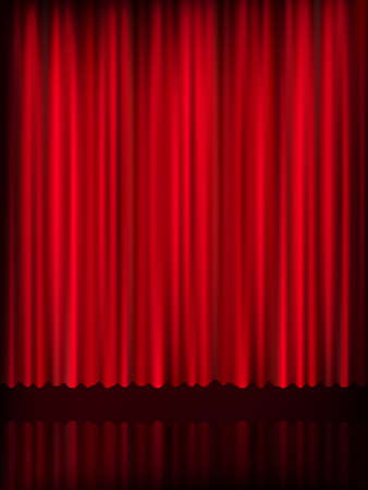 classical theater: Red curtain background template. EPS 10 vector file included Illustration