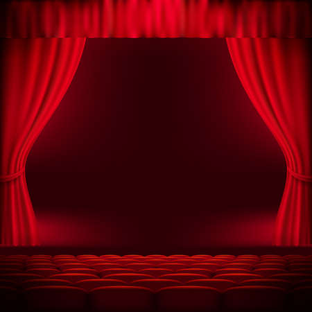 broadway stage: Red curtain template. EPS 10 vector file included