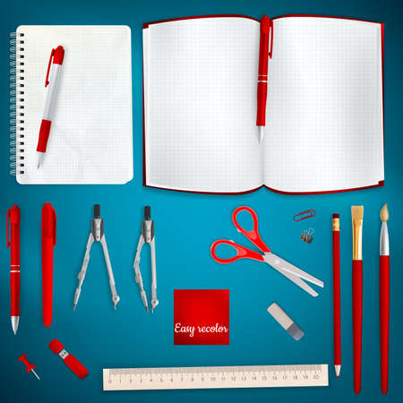 office supplies: Set of Colored school supplies background. EPS 10 vector file included Illustration