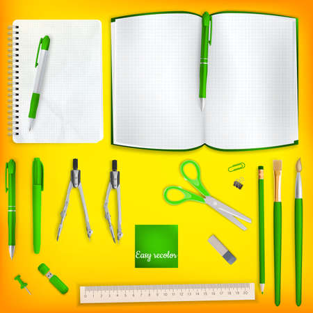 colored school: Set of Colored school supplies background. EPS 10 vector file included Illustration