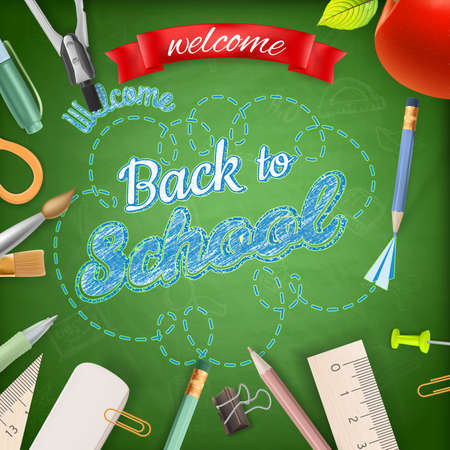 school supplies: Welcome back to school. EPS 10 vector file included