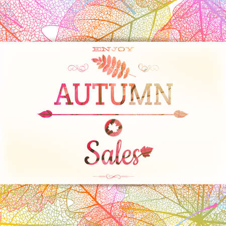 Autumn sale - fall leaves nature background. EPS 10 vector file included