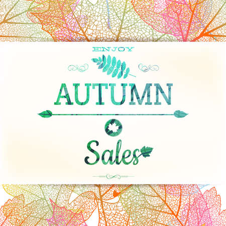 Autumn sale, background with colored leaves. EPS 10 vector file included Illustration