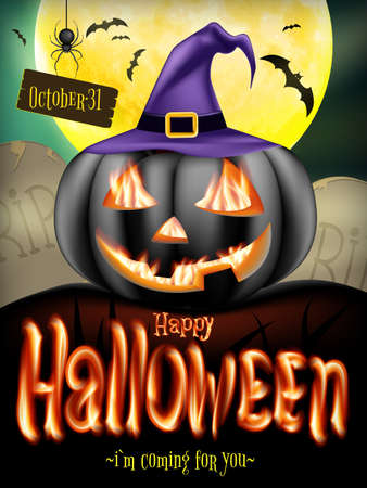 jackolantern: Halloween poster with jack-o-lantern smiling pumpkin on the night cemetery. EPS 10 vector file included Illustration