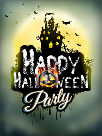 house party: Halloween night background with haunted house and full moon. EPS 10 vector file included