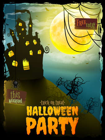 haunted: Poster, banner or background for Halloween Party night with haunted house. EPS 10 vector file included