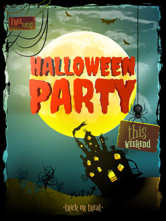 Halloween Background with haunted house. EPS 10 vector file included Illustration