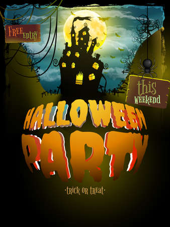 party cartoon: Halloween party. Old poster happy holiday background with moon. Scary mysterious castle. EPS 10 vector file included