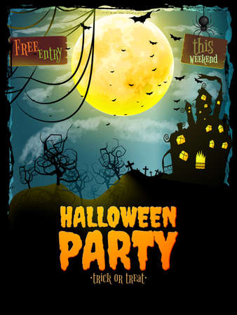 abandoned house: Halloween party poster. Hunted house on spooky graveyard. EPS 10 vector file included