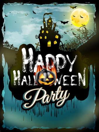 incendio casa: Fondo de la noche de Halloween con la casa embrujada y la luna llena. Archivo EPS 10 vector incluido