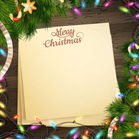 paper note: Paper note banner for holidays greeting message and Christmas decoration on a wooden backgroun. EPS 10 vector file included