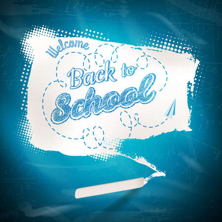 chalk board: Hand drawn chalked speech bubble banner on school board background. EPS 10 vector file included