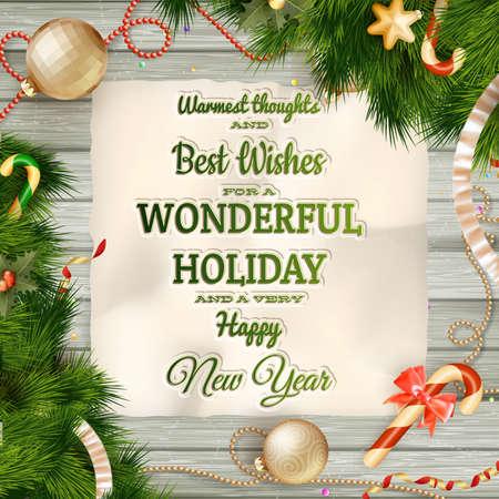 cintas  navide�as: Vacaciones saludo y una tarjeta de Navidad. Archivo EPS 10 vector incluido