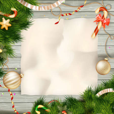 WOOD BACKGROUND: Holidays greeting and Christmas card. EPS 10 vector file included