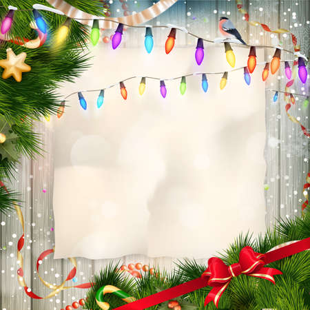 separately: Christmas card with copy space and objects on wrinkled paper background. Elements are layered separately. EPS 10 vector file included