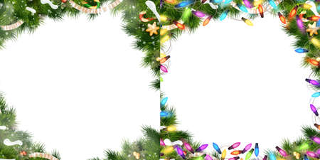 gold stars: Christmas Border Set - tree branches with golden baubles, stars, snowflakes isolated on white. EPS 10 vector file included Illustration