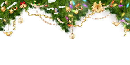 weihnachten: Christmas Border Set - tree branches with golden baubles, stars, snowflakes isolated on white. EPS 10 vector file included Illustration