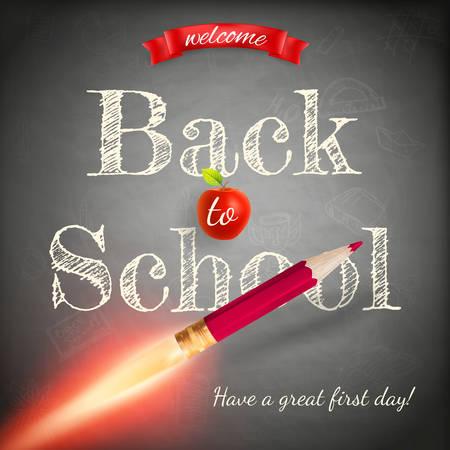booster: Volver a la escuela de fondo con el cohete hecho con l�piz. Archivo EPS 10 vector incluido