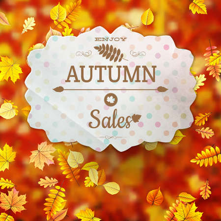 Autumn fall sale poster. Illustration with colorful leafs.  Illustration