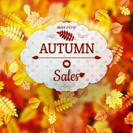 Sale with autumn leaves. EPS 10 vector file included