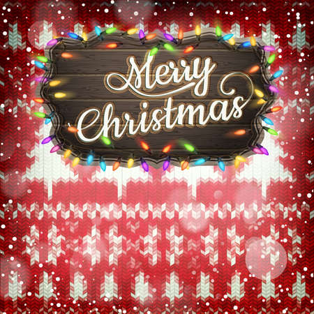 silvester: New Year christmas decoration. Christmas template against knitted background. Illustration for new years day, christmas, winter holiday, new years eve, silvester, etc. EPS 10 vector file included Illustration