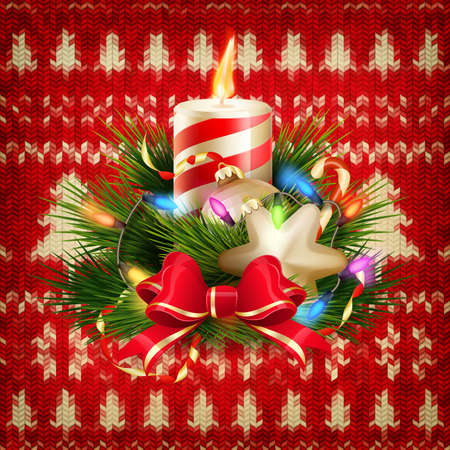 candle flame: New Year christmas decoration. Christmas template against knitted background. Illustration for new years day, christmas, winter holiday, new years eve, silvester, etc. EPS 10 vector file included Illustration