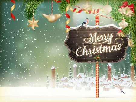 postcard: Escena de la Navidad, la nieve cubrió pequeño pueblo con árboles. Archivo EPS 10 vector incluido