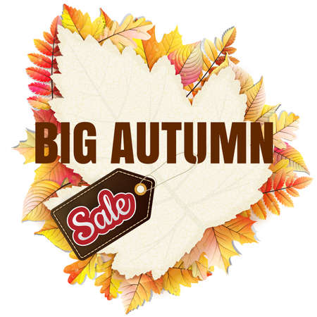 autumnal: Autumnal frame in the shape of fallen leaf Big Sale. EPS 10 vector file included