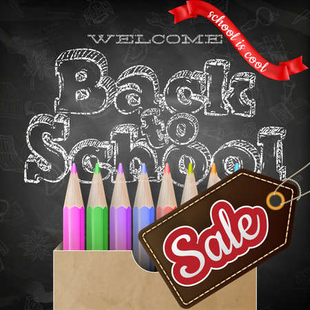 Back to school sale poster with text on chalkboard. EPS 10 vector file included Illustration