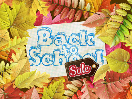 semester: Autumn frame with fall leafs Back to School Sale. EPS 10 vector file included