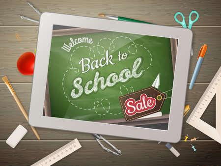 sentence: Tablet chalkboard with sentence back to school Sale, on rustic wooden desk with pencil crayons of different colors. EPS 10 vector file included Illustration
