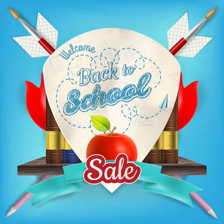 article marketing: Back to School design sale background. Illustration for greeting card, promotion, poster, flier, blog, article, social media, marketing. EPS 10 vector file included Illustration