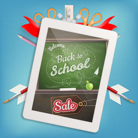 frase: Tablet with a picture of a chalkboard with the sentence back to school written in it, on a rustic wooden desk with pencil different colors. EPS 10 vector file included