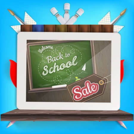 sentence: Tablet with a picture of a chalkboard with the sentence back to school written in it, on a rustic wooden desk with pencil different colors. EPS 10 vector file included